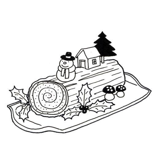 Bûche de Noël décorée | Coloriage, Clip art, Clipart