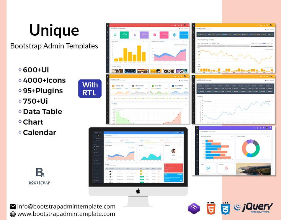 Unique Responsive Bootstrap 4 Admin Templates Templates