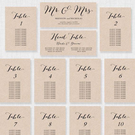 Wedding Seating Chart Template - Printable Seating Chart - free printable seating chart