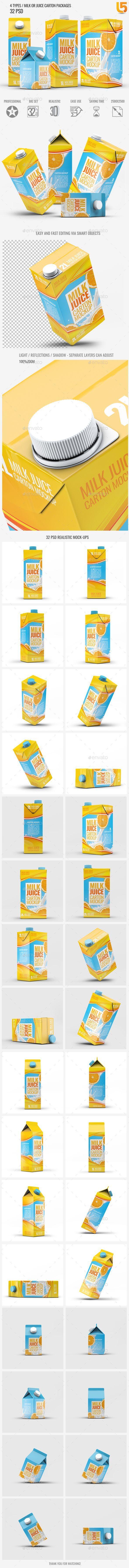 4 Types Milk / Juice Cartons Bundle Mock-Up PSD. Download here: ... -