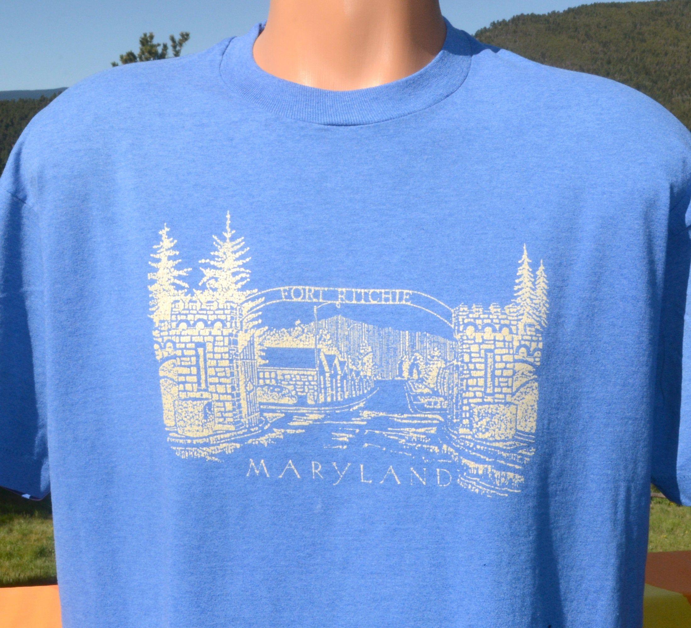Vintage 80s T Shirt Fort Ritchie Maryland Tee Xl Large Military Shirts T Shirt 80s Sweatshirt [ 2000 x 2200 Pixel ]