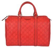 Gucci Gg Leather Boston Purse Bag - Satchel in Red
