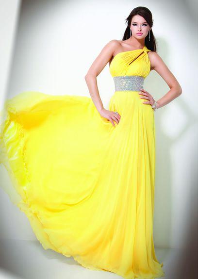 354f9fc900a73 Nitid Yellow One Strap Empire Beaded Wasitline Sash Sheath Chiffon Satin  Sweep Train Prom Dress (