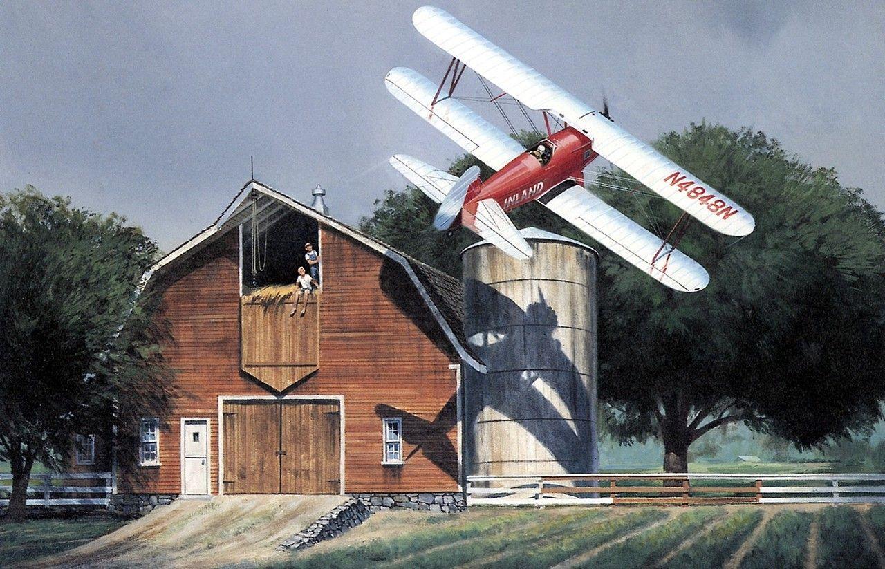 1930s Barnstormer - Nixon Galloway A red barn and daredevil