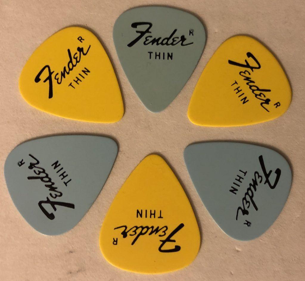 Vintage Fender Guitar Pick Set (6) Thin Gauge Pastel Baby Blue & Yellow Custom Colors 1980 - Pickbay