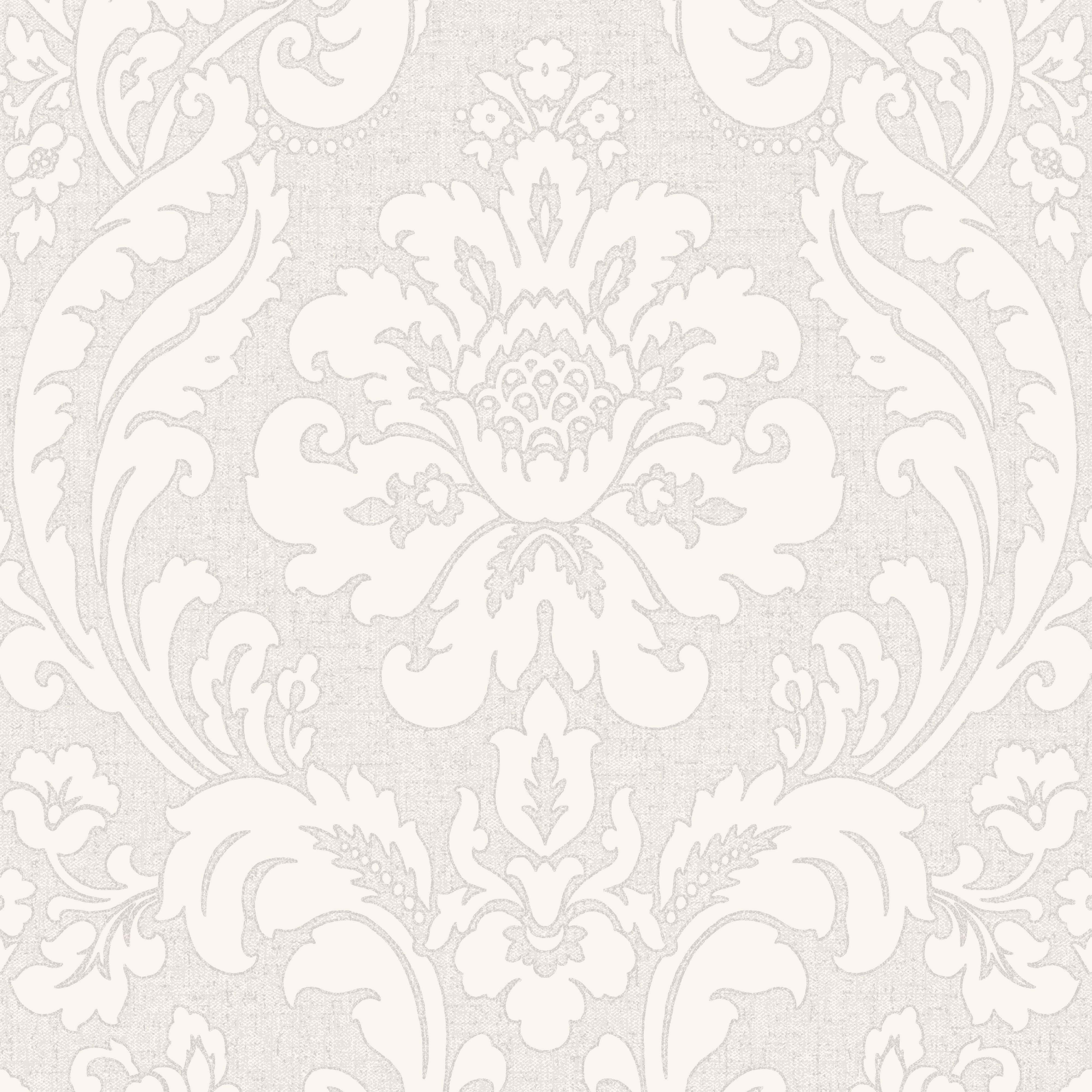 Zara Silver Damask Glitter Wallpaper
