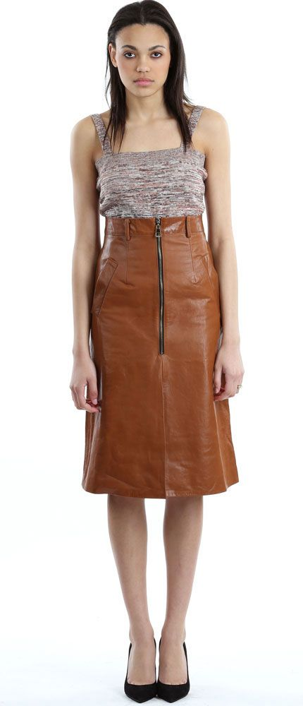 Shakuhachi Tan Leather A-Line Skirt with the No. 6 Goodman Caramel ...