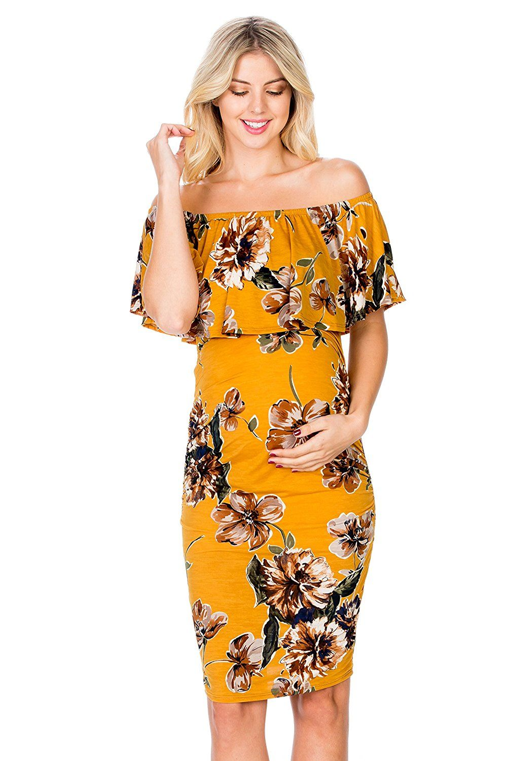 c620a8e89d81b My Bump Women's Ruffle Off-Shoulder Maternity Dress W/Side Sharing(Made in  USA) (X-Large, Mustard#3 Flower) at Amazon Women's Clothing store: