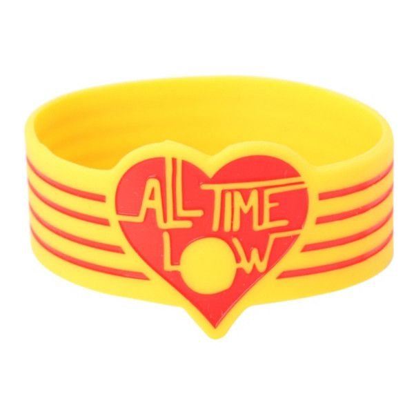 All Time Low Red Heart Rubber Bracelet | Hot Topic (6.80 CAD) ❤ liked on Polyvore featuring jewelry, bracelets, red heart jewelry, rubber jewelry and rubber bangles