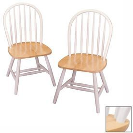 Winsome Wood Set Of 2 Windsor White/Natural Side Chairs 53999