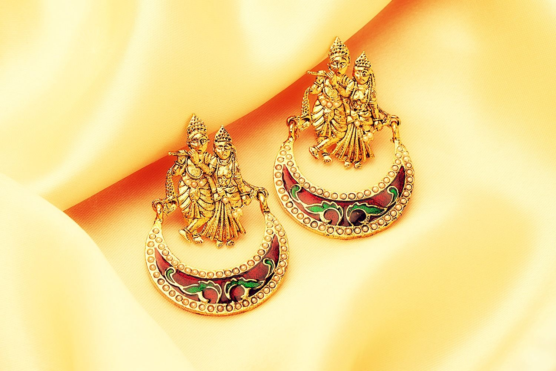 #Radha #krishna #earrings #janamashtami wishes