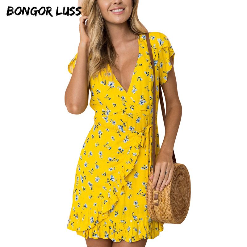 1c7b88af025b BONGOR LUSS Beach Summer Dress Women Chiffon Ruffle Floral Print Boho Dresses  Deep V Neck Short Sleeve Mini Wrap Dress With Belt