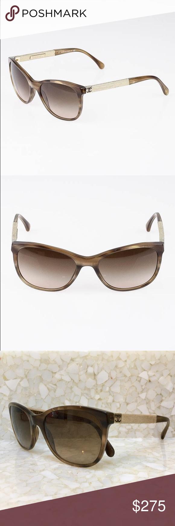 Authentic! CHANEL sunglasses Light Brown Tortoise Frame Denim ...