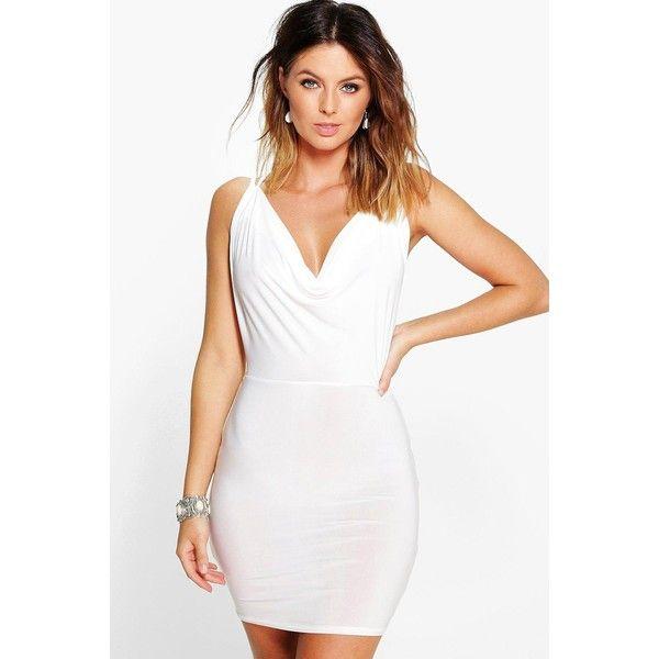 Boohoo Enya Cowl Neck Cross Back Bodycon Dress   Boohoo (18,355 KRW) ❤ liked on Polyvore featuring dresses, ivory, white tuxedo, winter white dress, white dress, white slip dress and bodycon dress