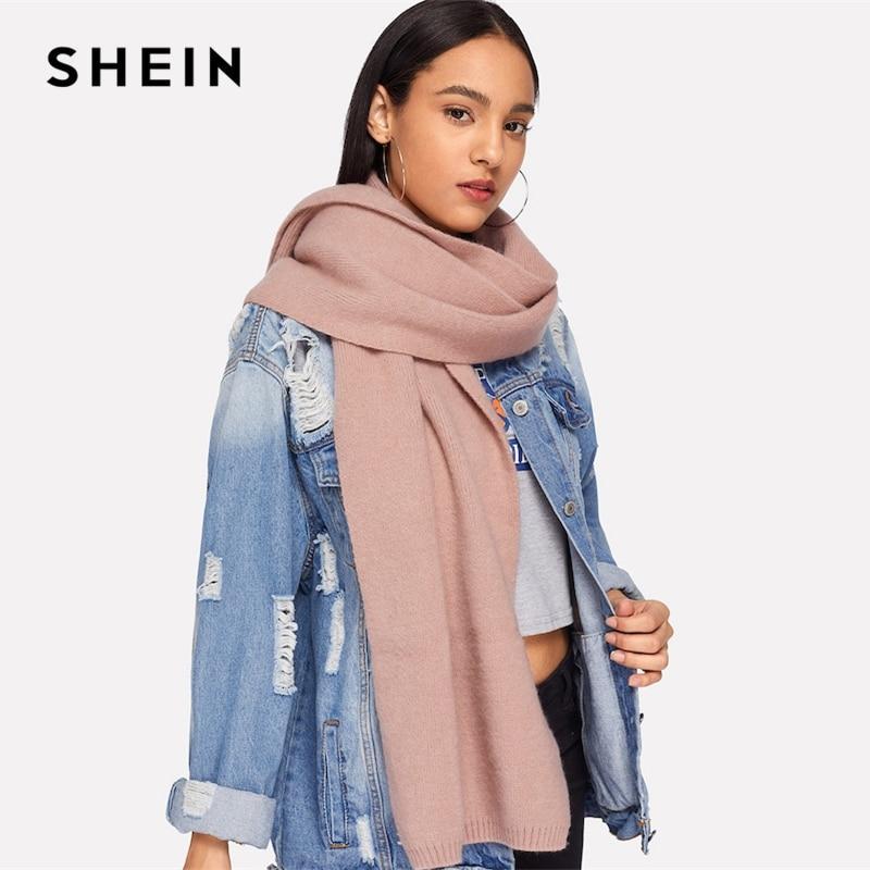 e040c73ed6af4 SHEIN Pink Elegant Preppy Plain Soft Long Minimalist Scarf 2018 Winter Women  Campus Workwear Scarfs