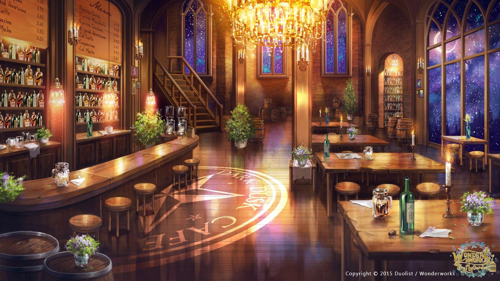 Dark dusk cafe, Zhowee Zhoung on ArtStation at https//www