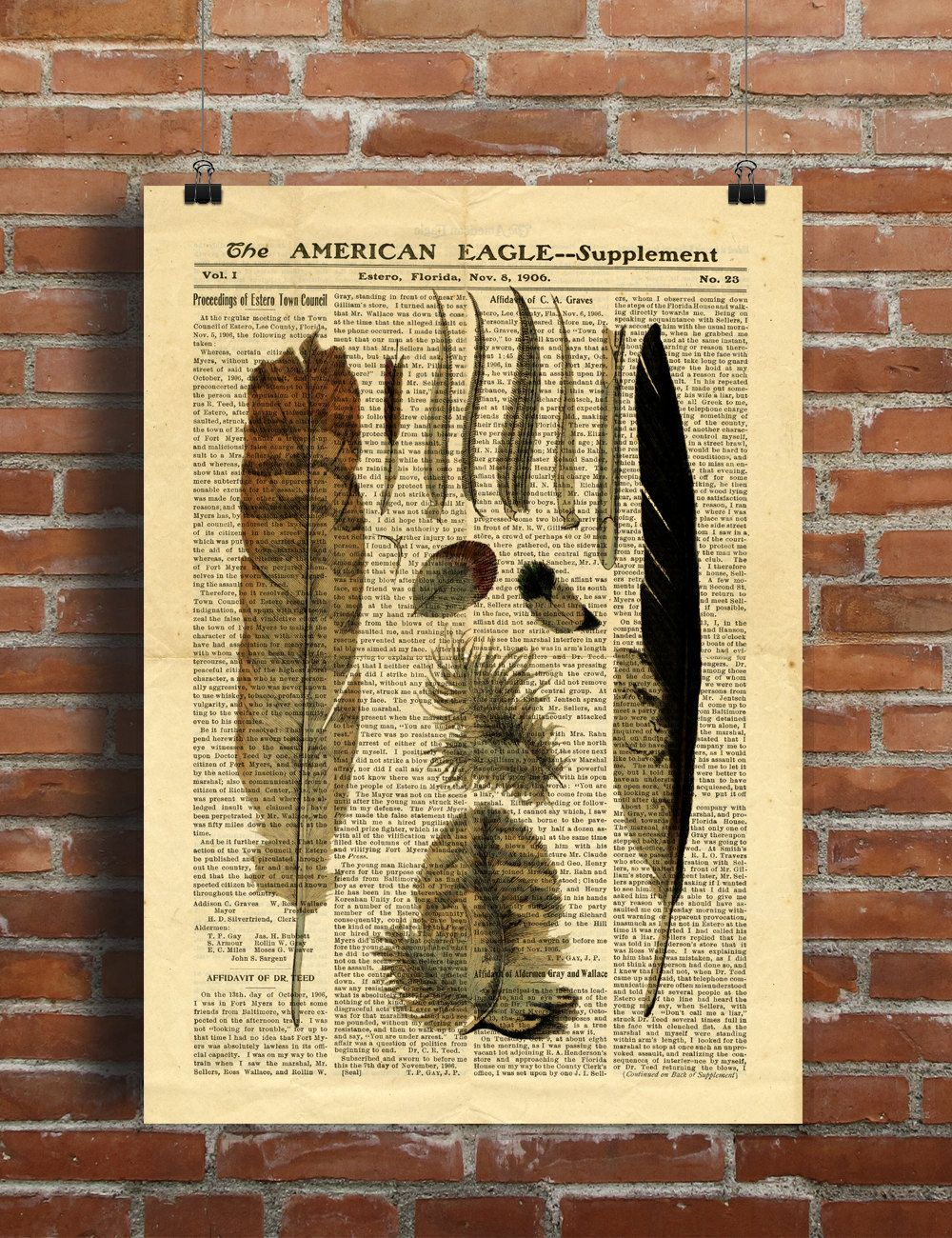 Old book Feathers bird Old Newspaper Printable Poster A3 Boho Wall ...