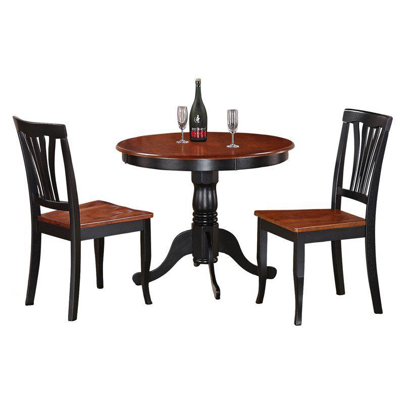 East West Furniture Antique 3 Piece Pedestal Round Dining Table Set