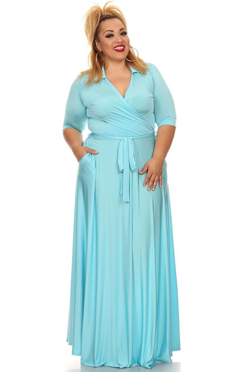 Maxi wrap dress womenus short long sleeve tie faux wrap waist