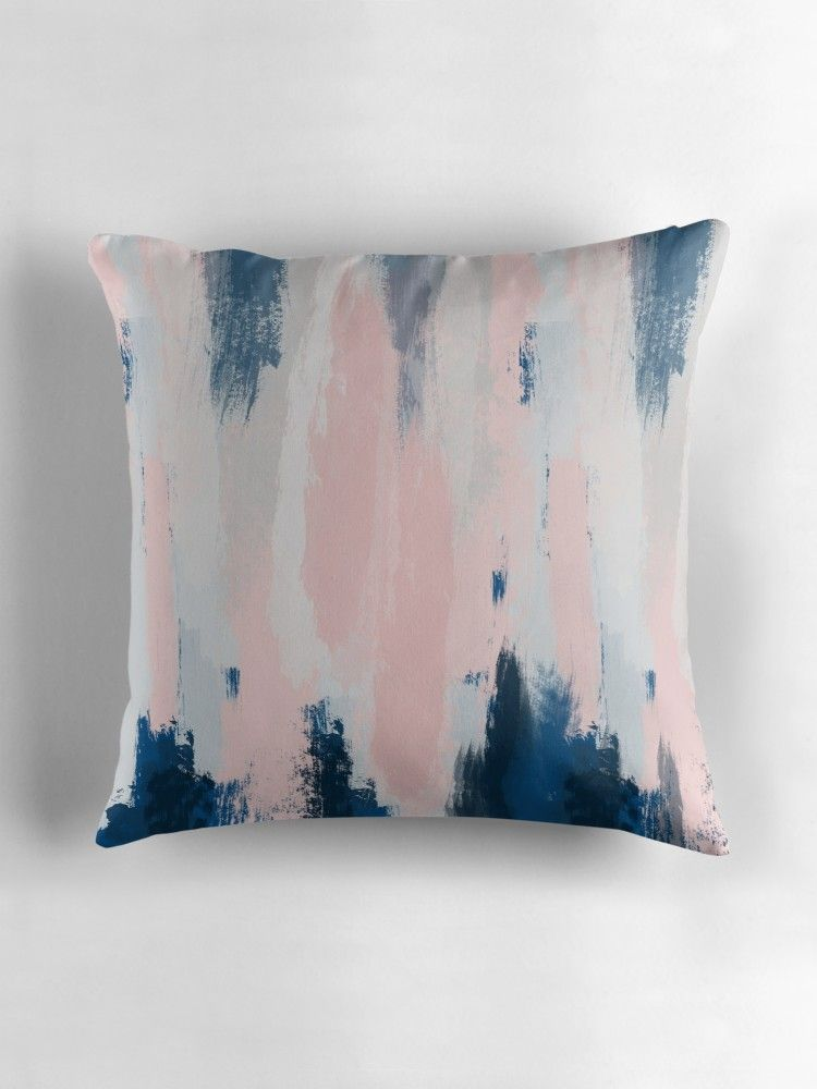 Abstract Blush And Blue Throw Pillow By Sharlenetait In 2019