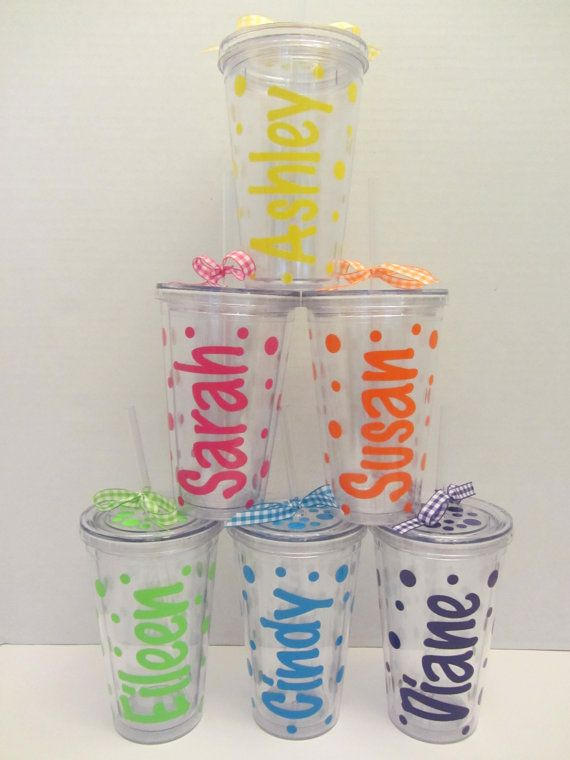 c00eff00dd7 Polka Dot Acrylic tumblers: 6 Personalized acrylic tumblers with lid. Mix  and match. Great gifts. Discount for buying more.