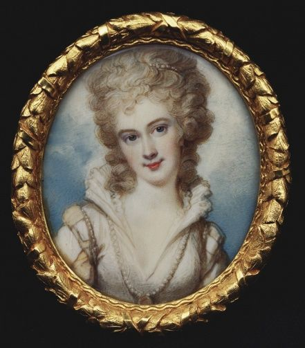 Georgiana, Duchess of Devonshire, miniature by Richard Cosway. Watercolor on ivory. (1774-82)