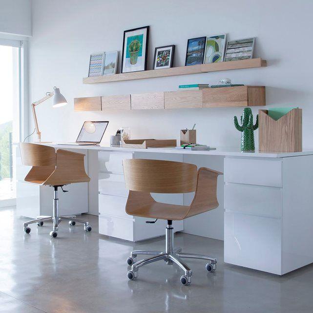 Double bureau pour la maison blanc et bois décoration étagère et ...