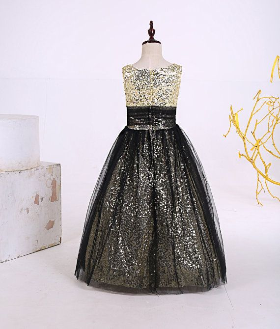 Cute floor length champagne sequin black tulle by DressourPrincess