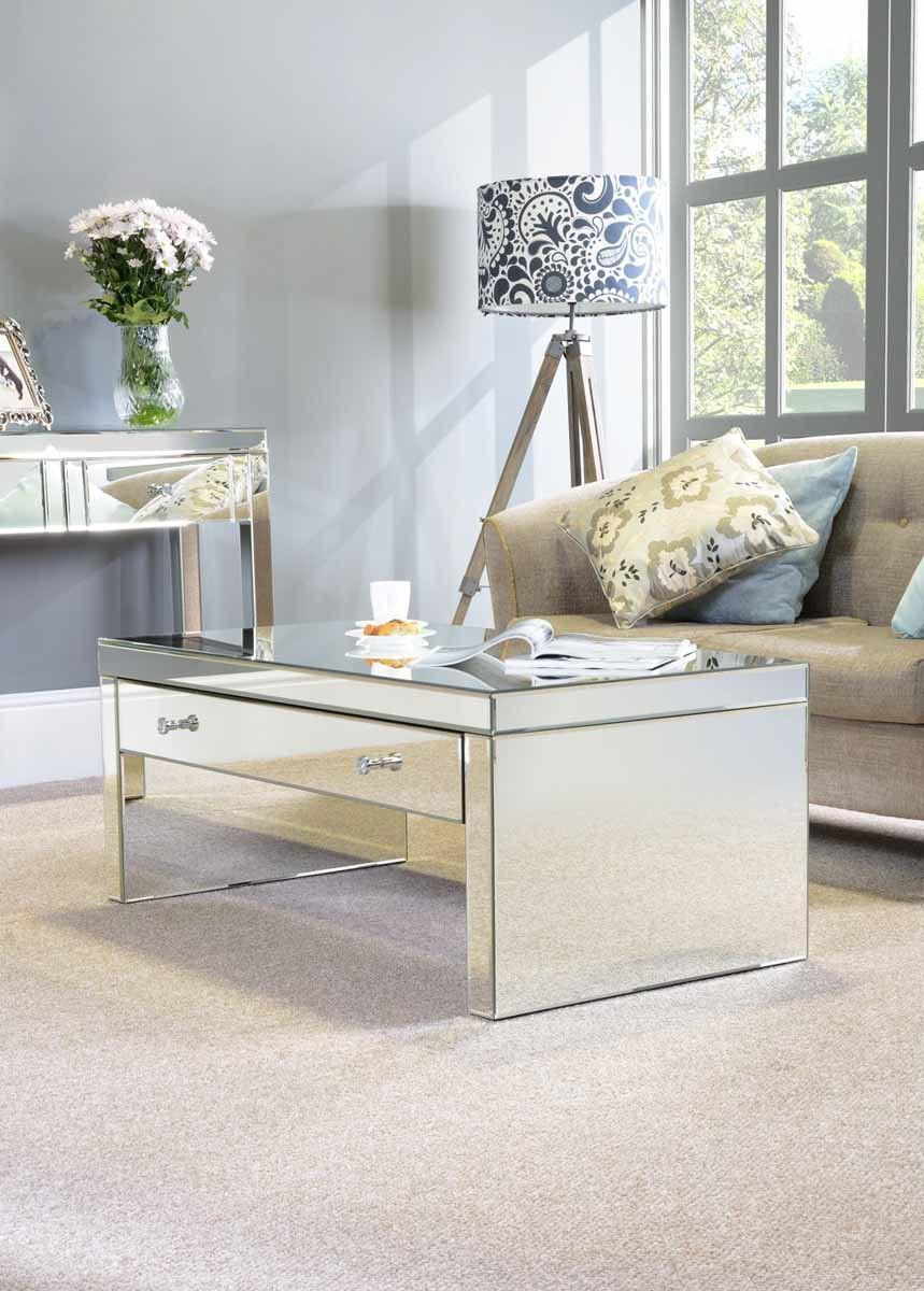 Mirrored Furniture Coffee table Glass Venetian Plain / Large drawer ...
