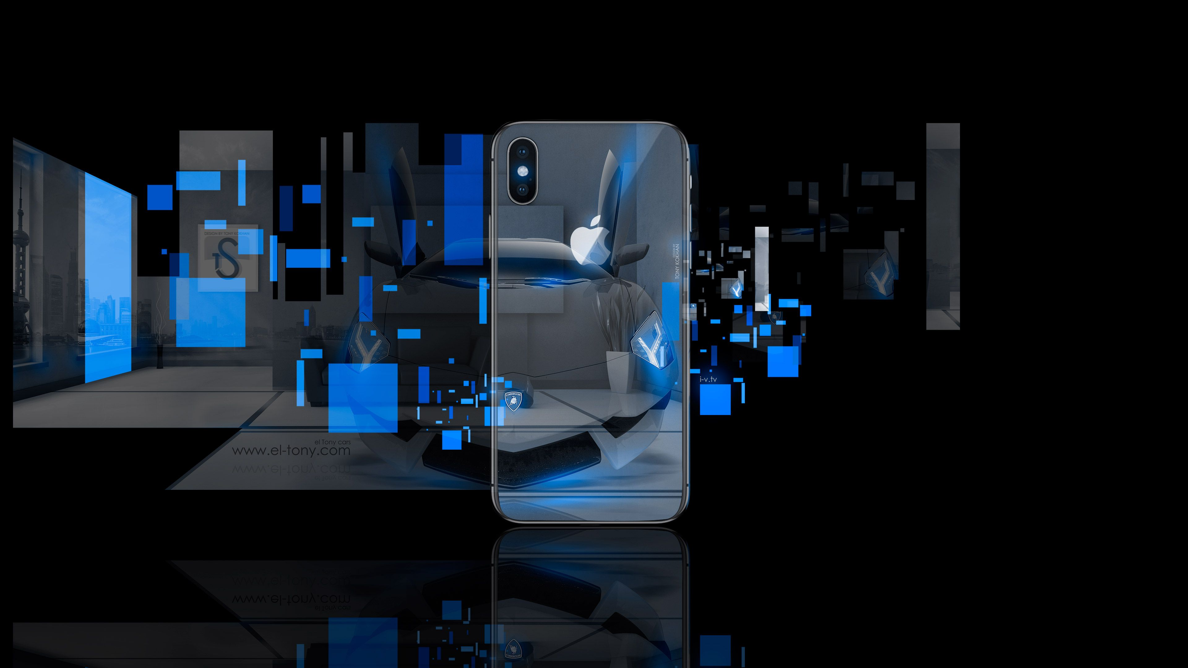 Apple, AppleTony, Aventador, Blue, Case, City, Cover, Crystal,