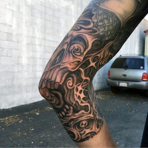 skull elbow tattoos top 100 best elbow tattoos for men masculine best elbow tattoos. Black Bedroom Furniture Sets. Home Design Ideas