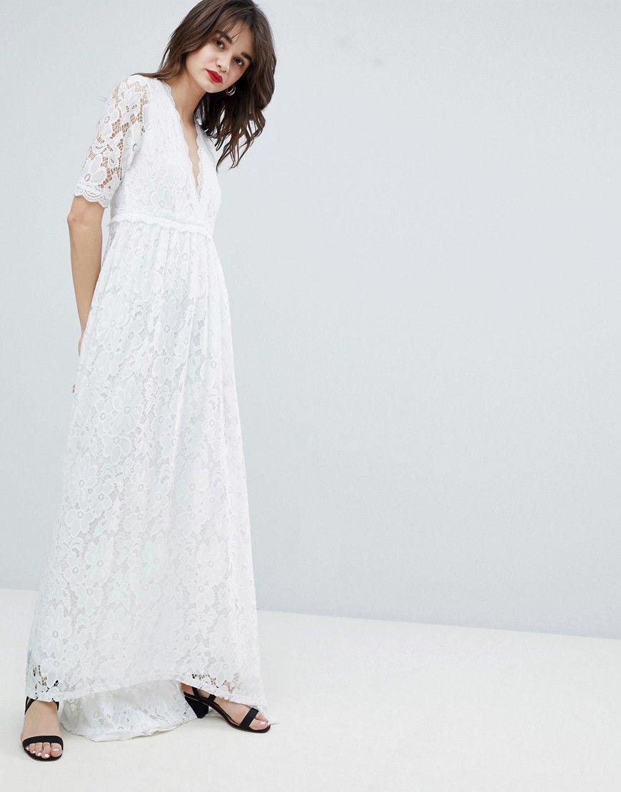 Lace Maxi Dress With Dip Hem - White | Pinterest | Vero moda, Lace ...