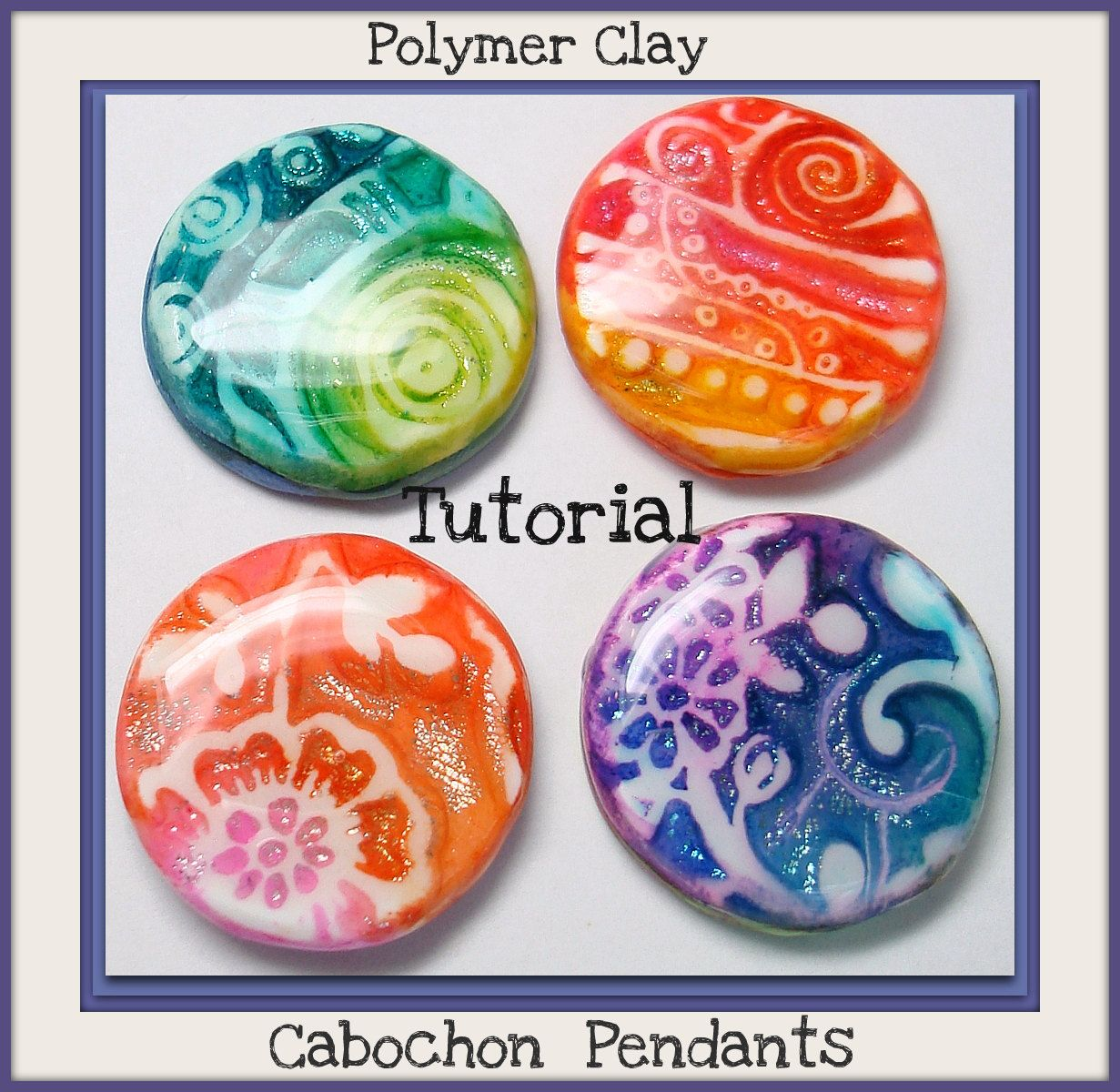 This tutorial will guide you step by step, how-to create Polymer Clay Cabochon Pendants, it includes 28 pages of easy to understand instructions, and 42 color images, FAQ & Tip Section, Gallery photos of completed projects.
