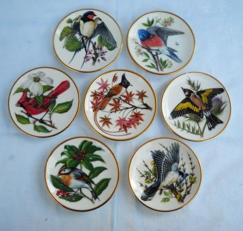 Earthenware - 7x Songbirds of the World-FRANKLIN PORCELAIN-1981-DISPLAY PLATES-Colin Newman