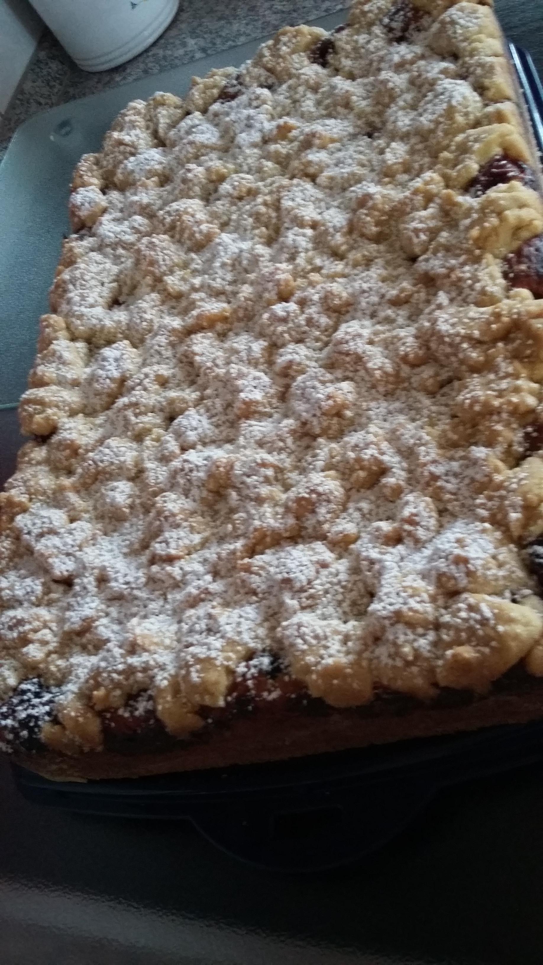 Kirsch Blechkuchen Mit Quark Ol Teig Vanillecreme Und Streusel