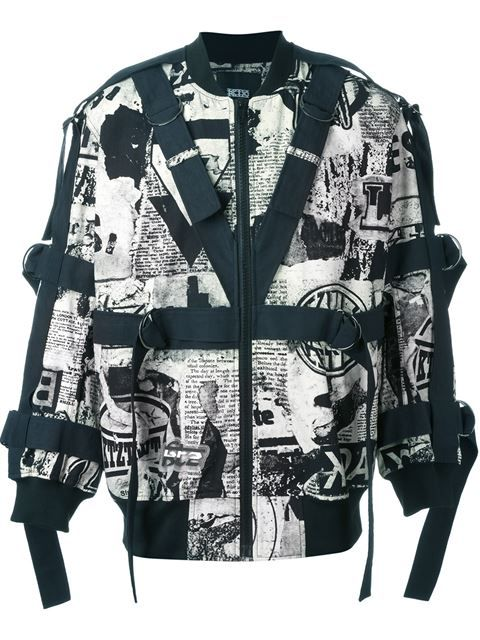 69bff04d2406a Shop KTZ newspaper print strapped bomber jacket in Eraldo from the world s  best independent boutiques at farfetch.com. Shop 300 boutiques at one  address.
