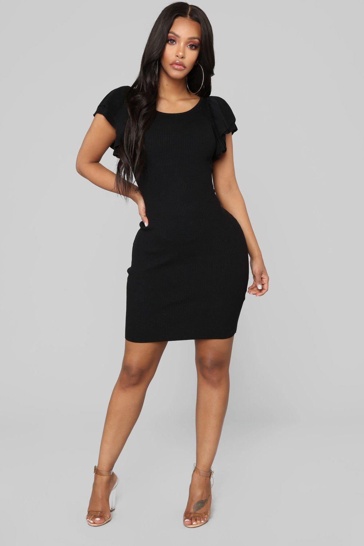 Maria Ruffle Sweater Dress Black Ruffle sweater dress