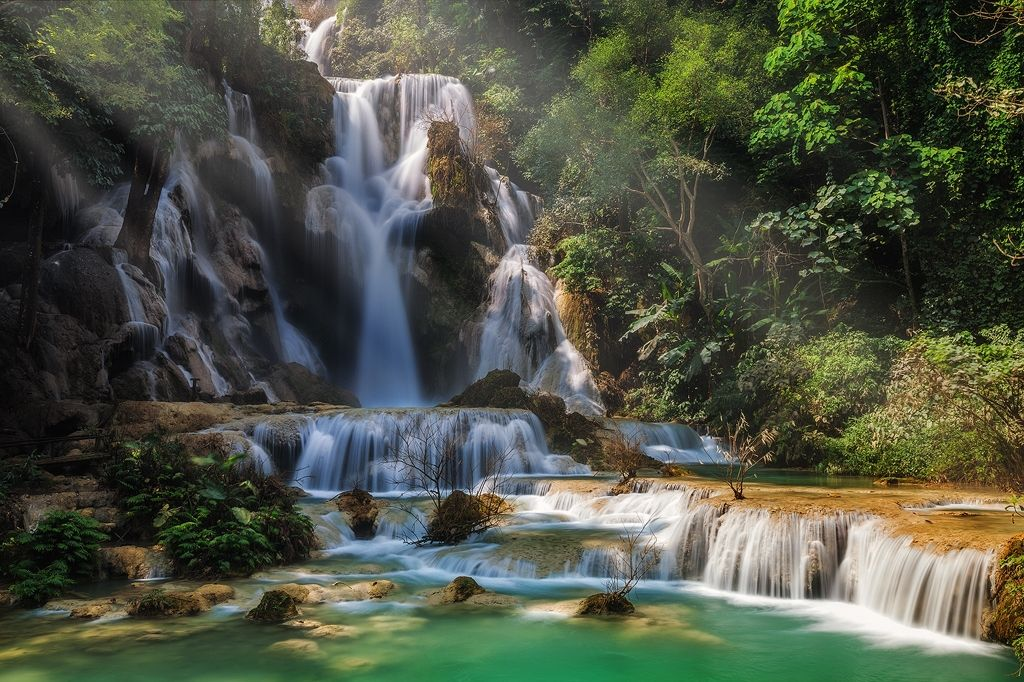 Kuang Si Falls Hd Wallpaper Love The Light In This Long Exposure Waterfall Image Shot