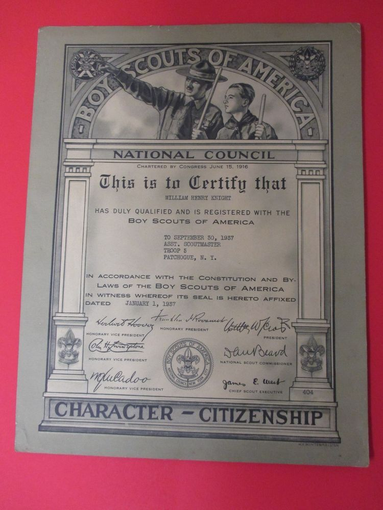 1937 Boy Scouts Of America Assistant Scoutmaster Troop 5 Patchogue NY. #boy #scouts #assistant #scoutmaster #troop #5 #Suffolk #council #character #citizenship #Patchogue