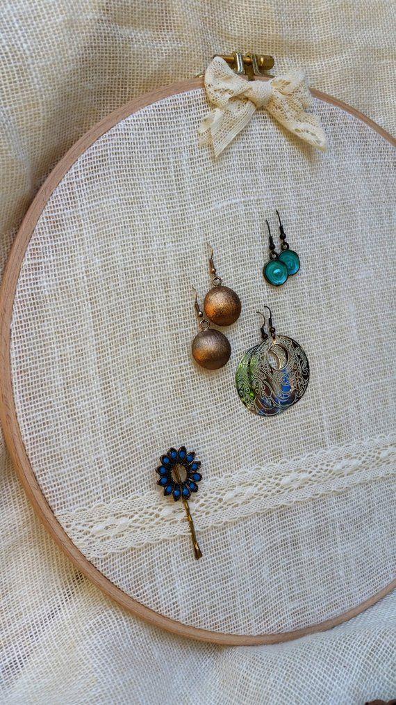 Linene Earring holder, Earring organizer, Earring hanger ,Earring stand ,Embroidery hoop with linen