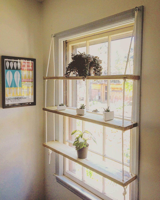 Custom Light Pine Rope Hardware Minimilist Hanging Shelf