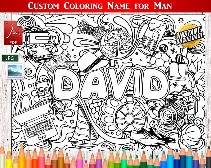Custom Man Coloring Namepersonalizedname Printprintable Coloringcolor Name