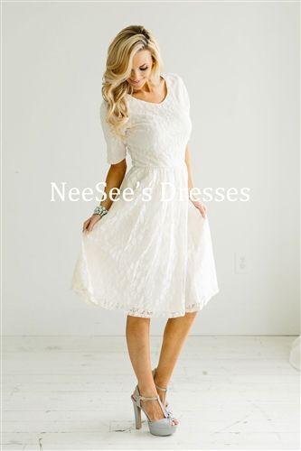 e2df2d87384c White Ivory Lace Modest Dress by Mikarose, Vintage Dress, Church Dresses…