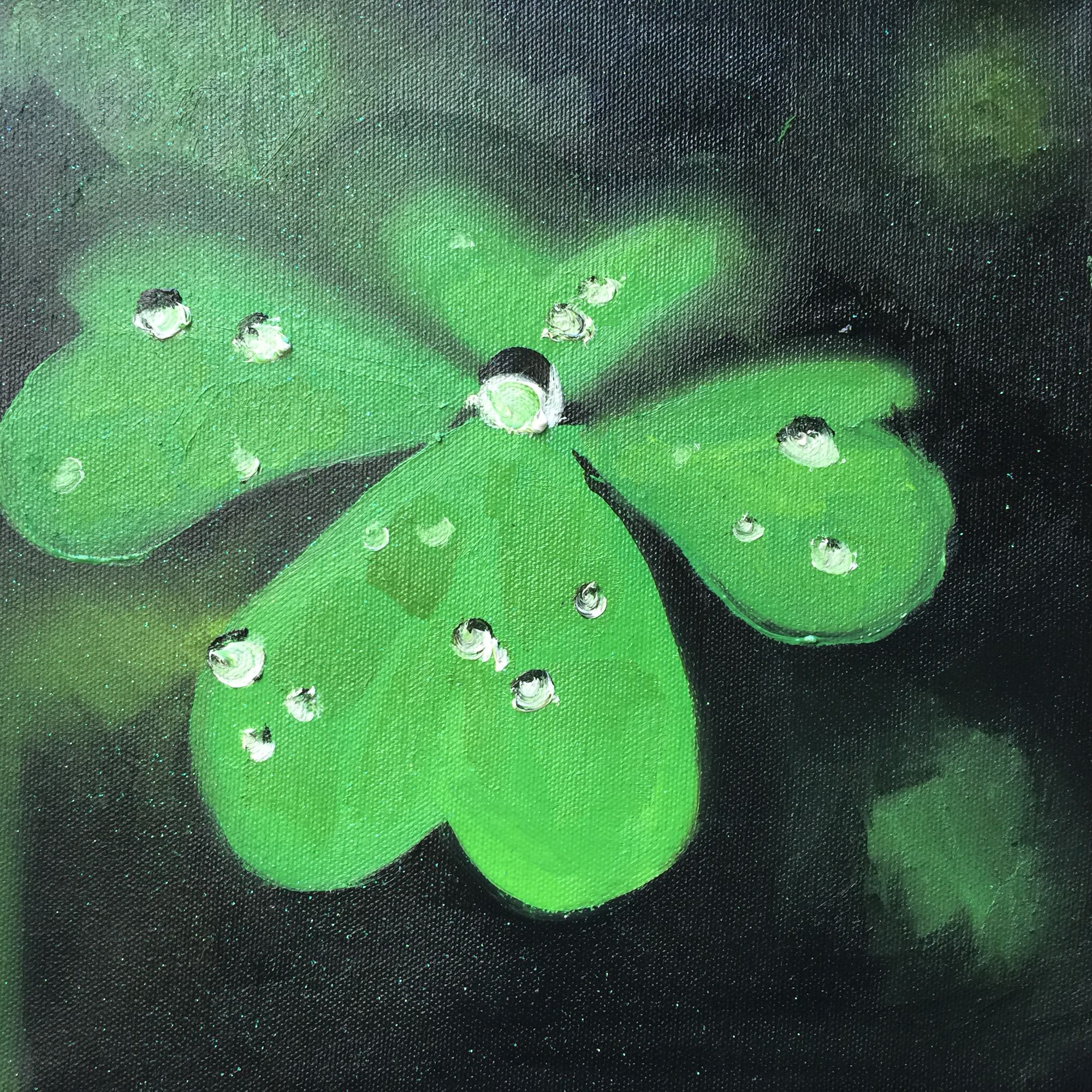 10x10 oil on canvas by Sharon Read. A lucky leaf for Valentines Day $50