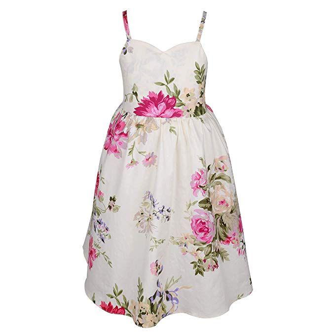 9dd9d147ff Amazon.com  Flofallzique Vintage Girls Easter Dress Floral Backless Wedding  Party Sundress for 1