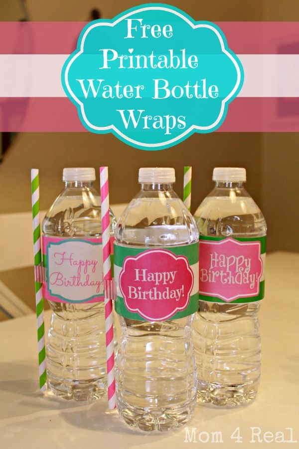 Free Printable Happy Birthday Water Bottle Label Wraps @Jessica Kielman         {Mom 4 Real}