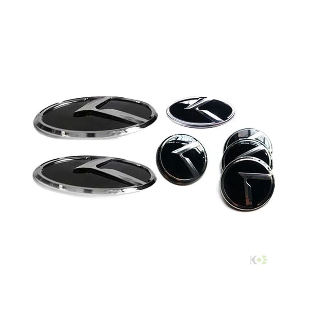 K LOGO Emblem Badges 7pc SET Front+Rear+Steering+Wheel Caps fit For KIA RIO