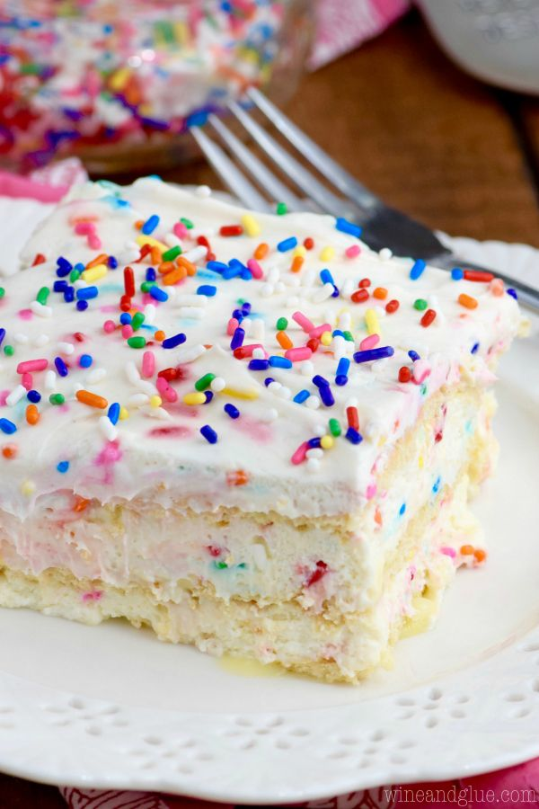 This No Bake Birthday Cake Lasagna is the perfect dessert Full of