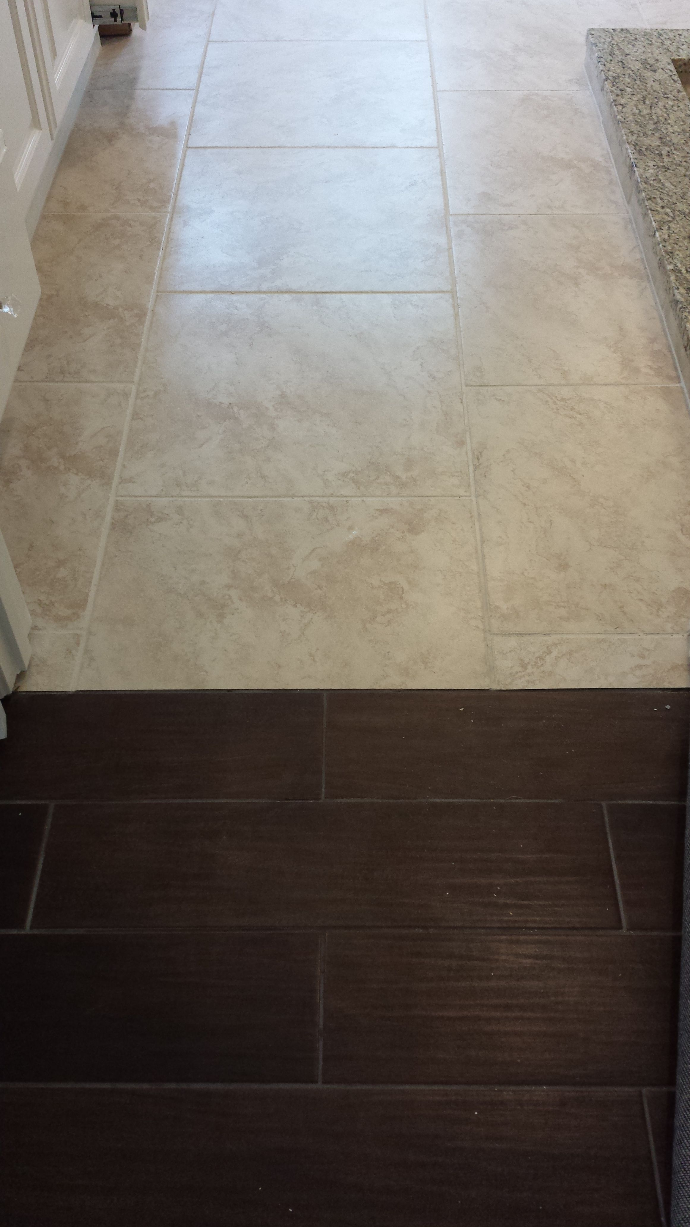 Nice Transition From Porcelain Floor That Looks Like Wood In The Master Bedroom To Travertine Floor In The Master Bedroom Flooring Flooring Porcelain Flooring