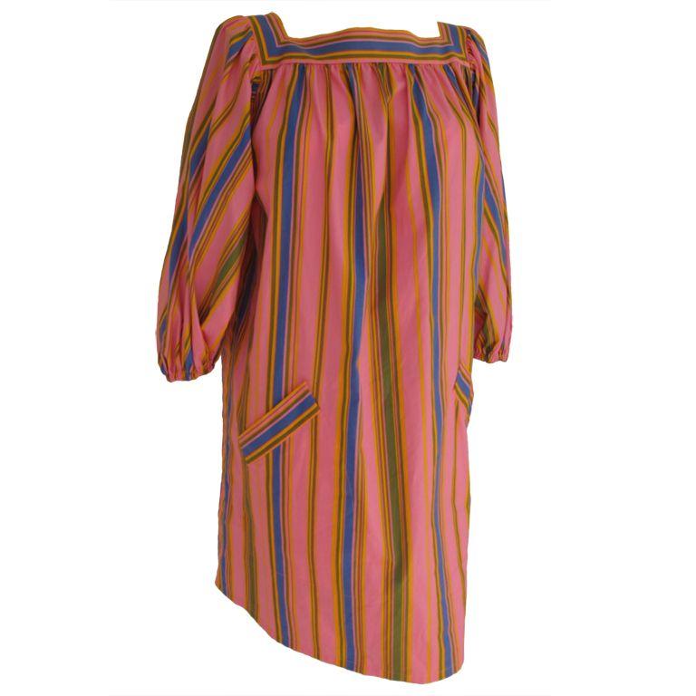 1stdibs | Yves Saint Laurent Candy Striped Cotton Tunic Dress